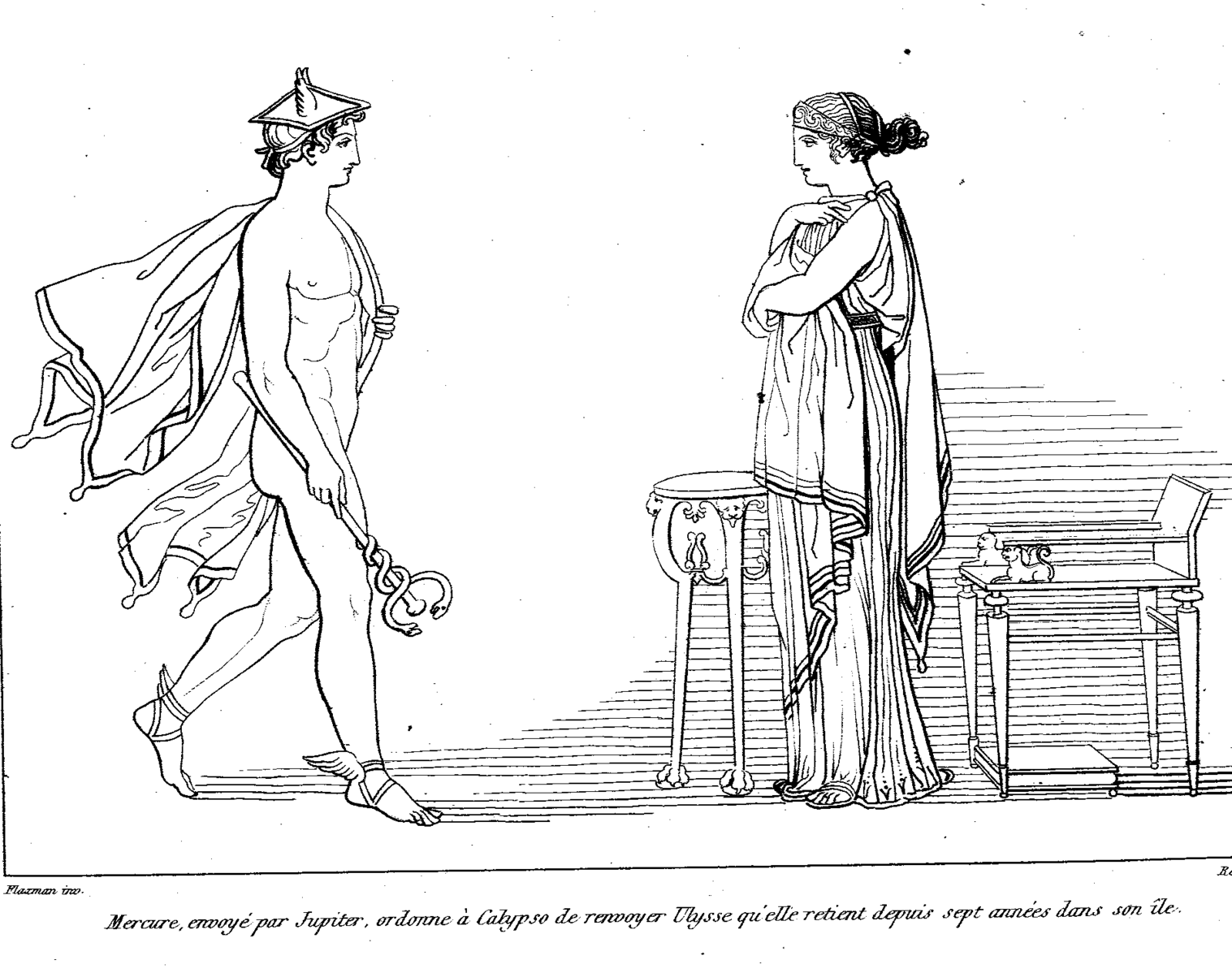 Hermes Orders Calypso To Release Odysseus A 3 Drawings Coloring
