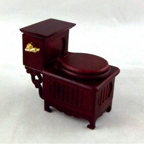 Dolls House Fine Miniature Bathroom Furniture Jiayi Mahogany Cottage Toilet