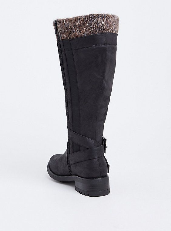 Black Sweater Trimmed Knee-High Slouch Boot (WW &