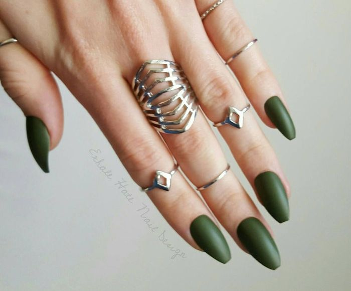 1001 Ideas For Coffin Shaped Nails To Rock This Summer Matte Nails Design Coffin Shape Nails Green Nails