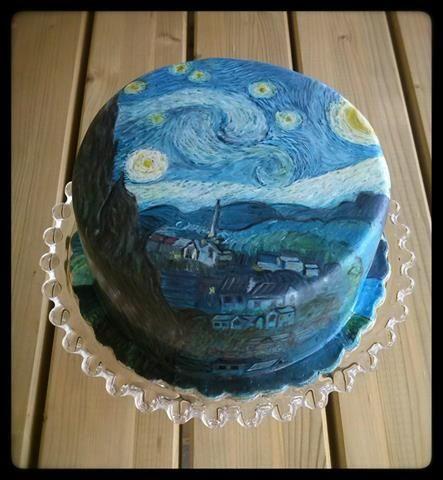 Starry Night Van Gogh Hand Painted Cake