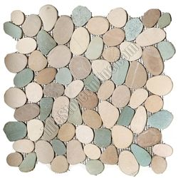 12 99 Shower Floor Sliced Flat Cut Pebble Stone Mosaic Turtle Mix Interlocking