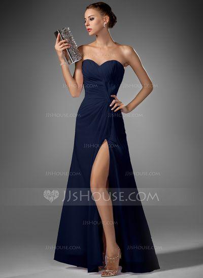 Vestidos princesa/ Formato A Coração Chá comprimento De chiffon Vestido de festa com Pregueado Frente aberta (017022520)