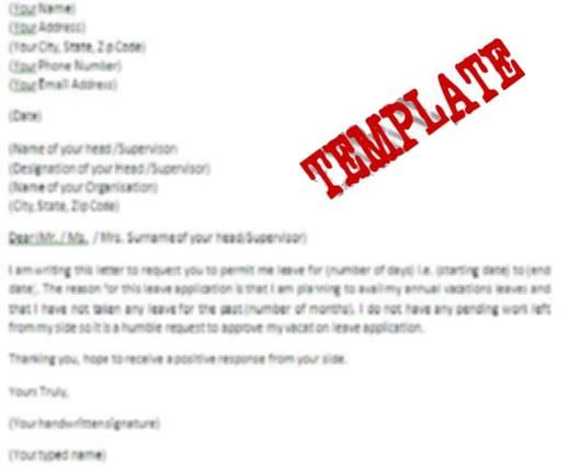 Template Of A Vacation Leave Letter Click To See Template Of A