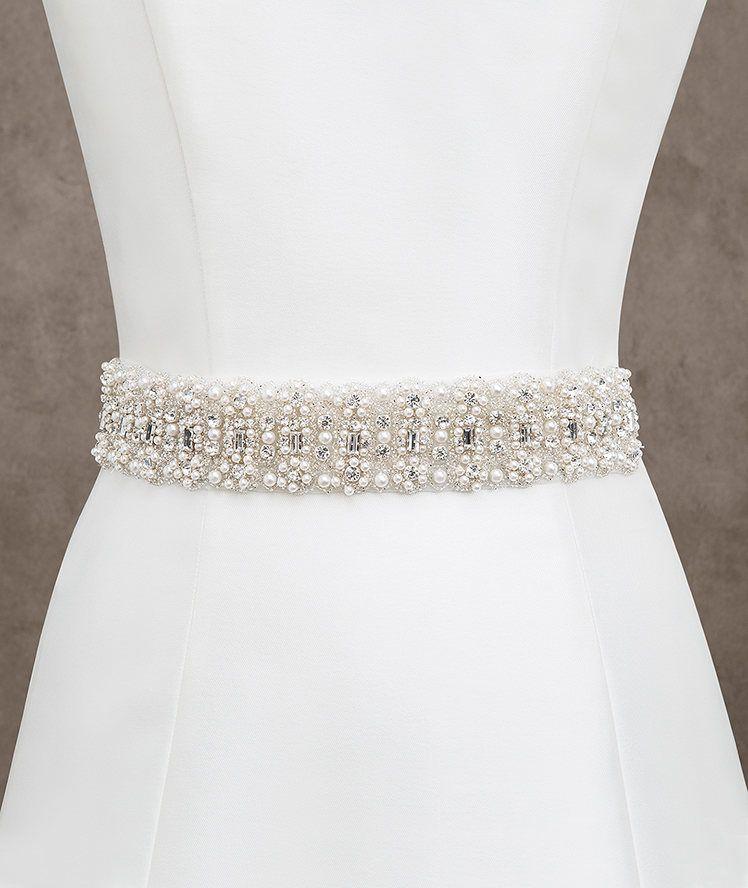 cinturón para vesitdo de novia de tul con aplicación de pedrería