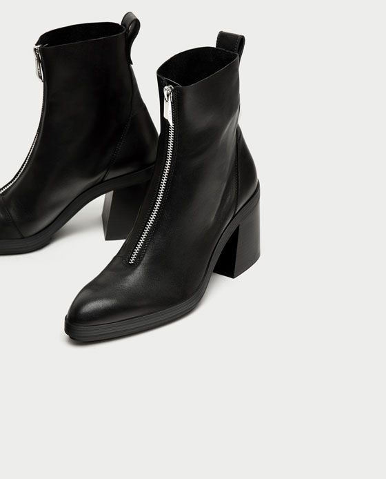 47baabe3c7b Image 5 of HIGH HEEL LEATHER ANKLE BOOTS WITH ZIP from Zara ...