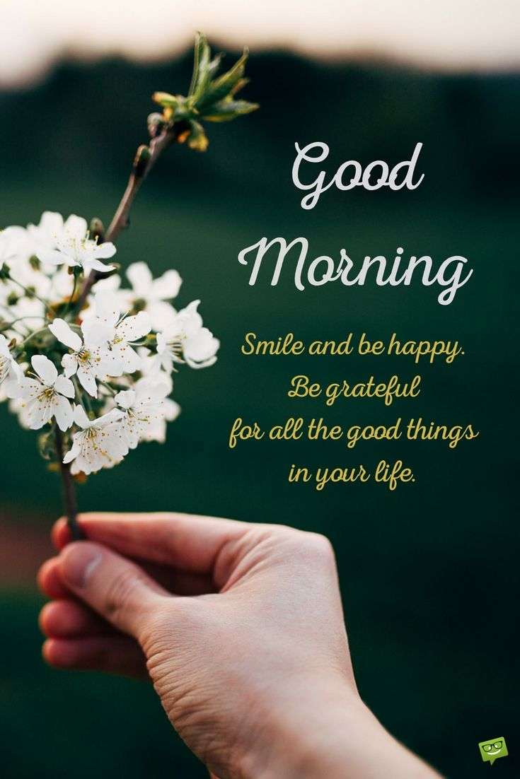 Good Morning. Smile And Be Happy. Be Grateful For All The Good Things In  Your Life.
