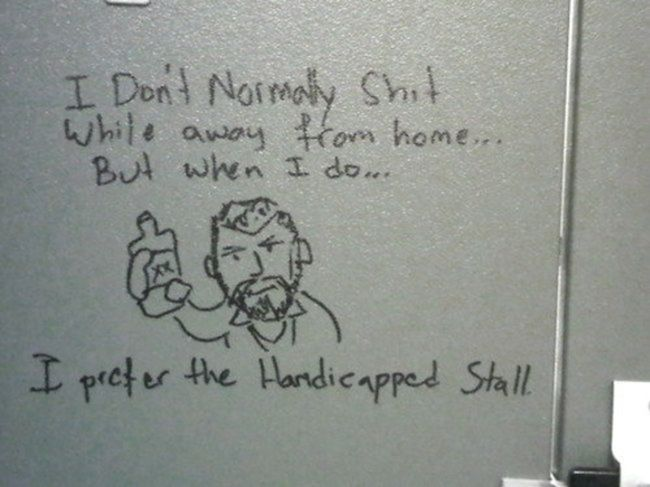Bathroom Stall, Bathroom Stall Humor, Bathroom Stall Graffiti, Bathroom  Stall Writing, Bathroom