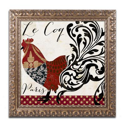 Trademark Art Roosters of Paris I' Framed Graphic Art Size: 1