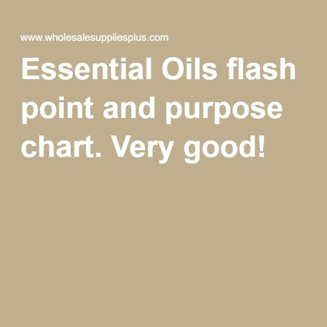 Essential Oils flash point and purpose chart  Very good