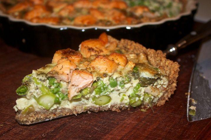 Seafoodtærte = tærte med grønne asparges, laks, rejer og ærter (brug selve bunden til en low carb tærtedej)