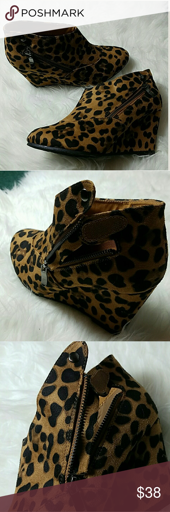 Leopard Suede Wedges Ankle Booties Made with soft PU Suede, Leopard print.  This are unique Wedges with zipper on the sides plus a button. Rare to find and super comfortable to wear.  TRUE TO SIZE starlight footwear  Shoes Ankle Boots & Booties