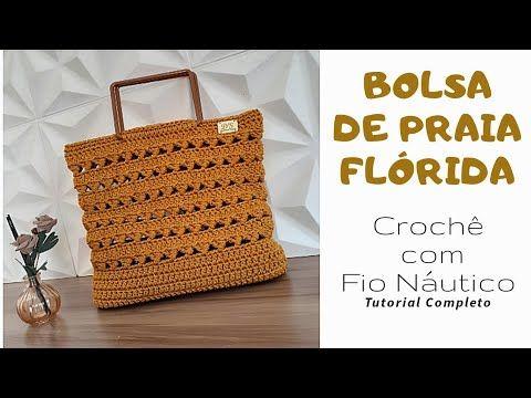 Bolsa de Praia Flórida – Crochê com Fio Náutico