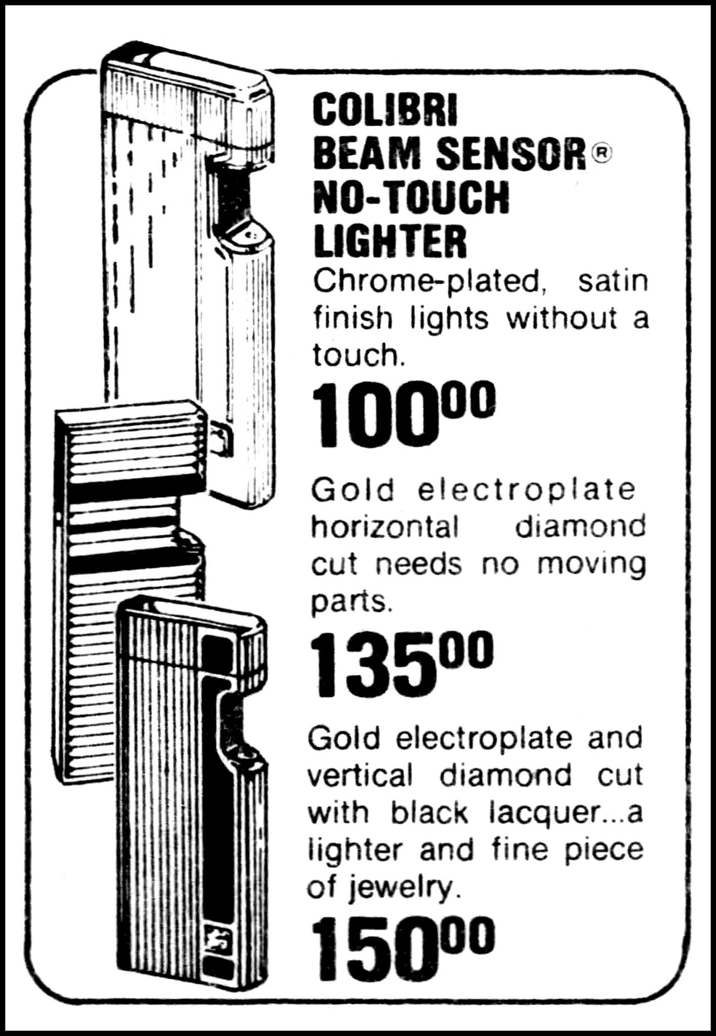 Vintage Advertising For The Colibri Beam Sensor No-Touch