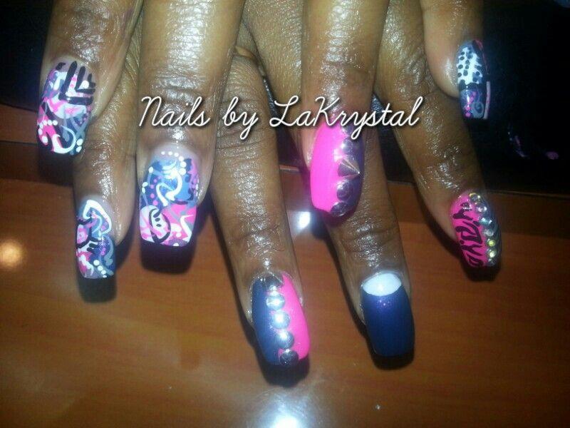 Nail art w/ spikes and studs   My nail work   Pinterest   Nail art ...