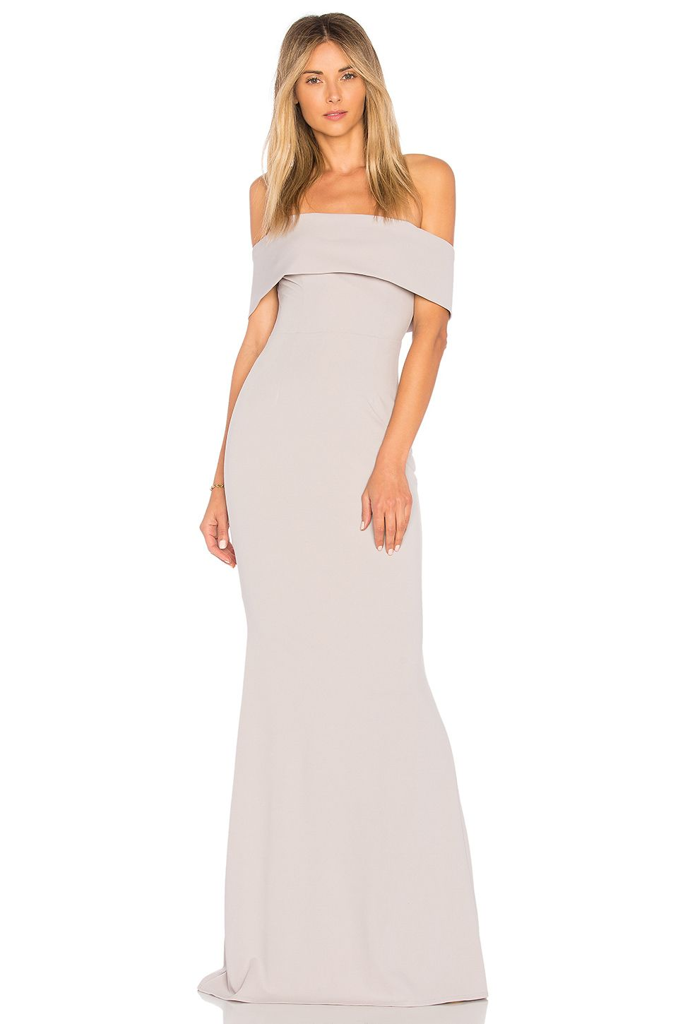 Katie may legacy gown in dove neutral bridesmaid dresses