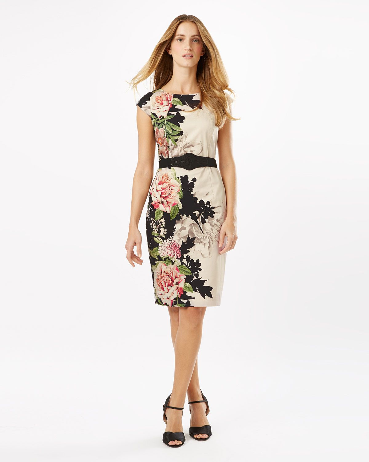 Phase Eight Arum Floral Placement Dress Cream
