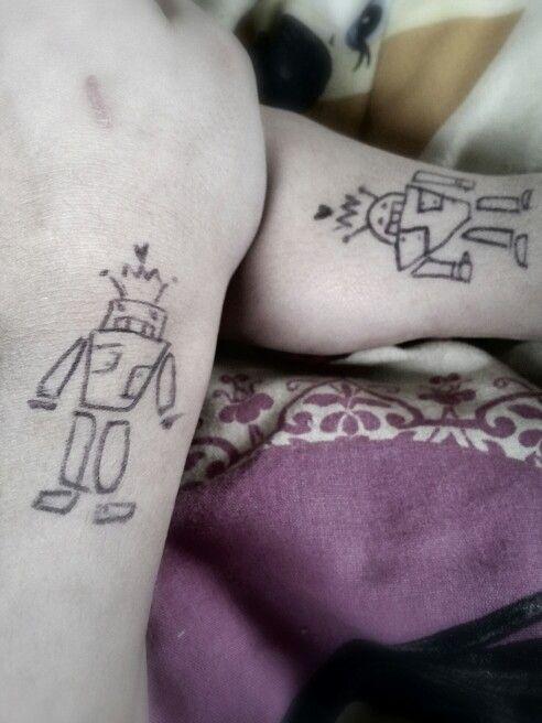 "Bff ""tatoo drawing"". Me & sis ♥"