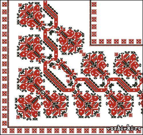 Вышивка орнаментом салфетки