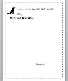 Free Letter to the Big Bad Wolf download (goes with The True Story of the Three Little Pigs)