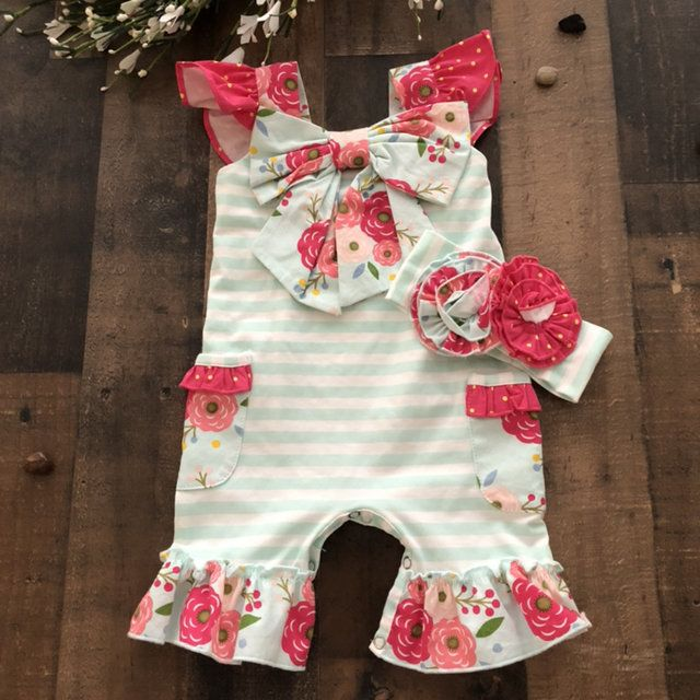ef892f46afb Pretty floral print Serendipity romper and matching headband. Vintage Bloom  print. SZ 3 6 months. NWOT