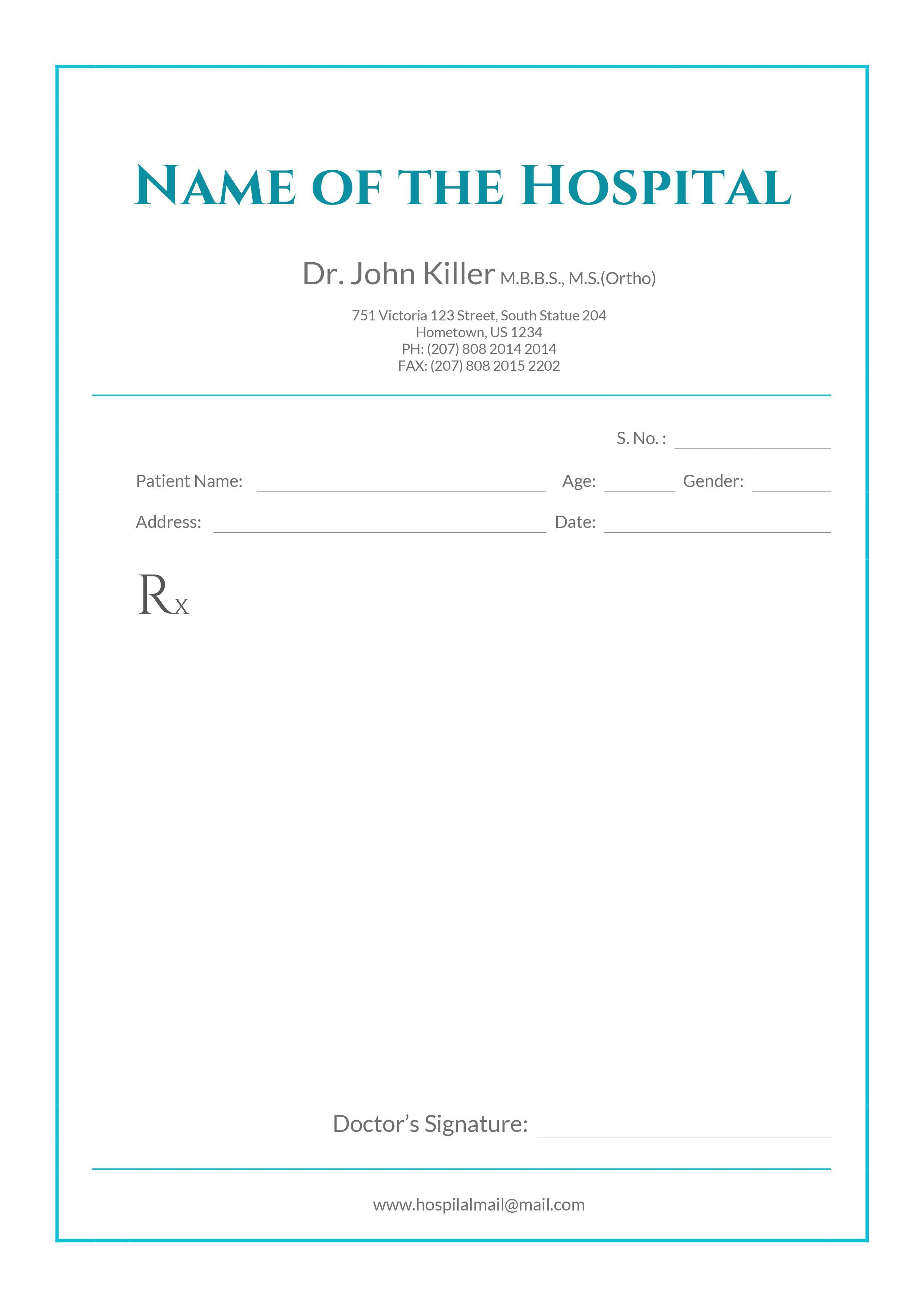 Free Medical Prescription Format Download In 2019 Throughout Doctors Prescription Template Word Doctors Note Template Medical Prescription Prescription Pad
