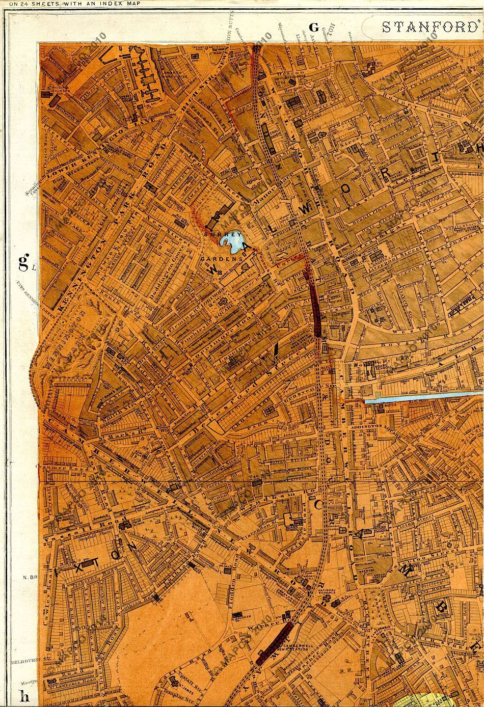 Map Of London And Surrounding Areas.1878 Map Of Walworth And Surrounding Areas My Ancestors London
