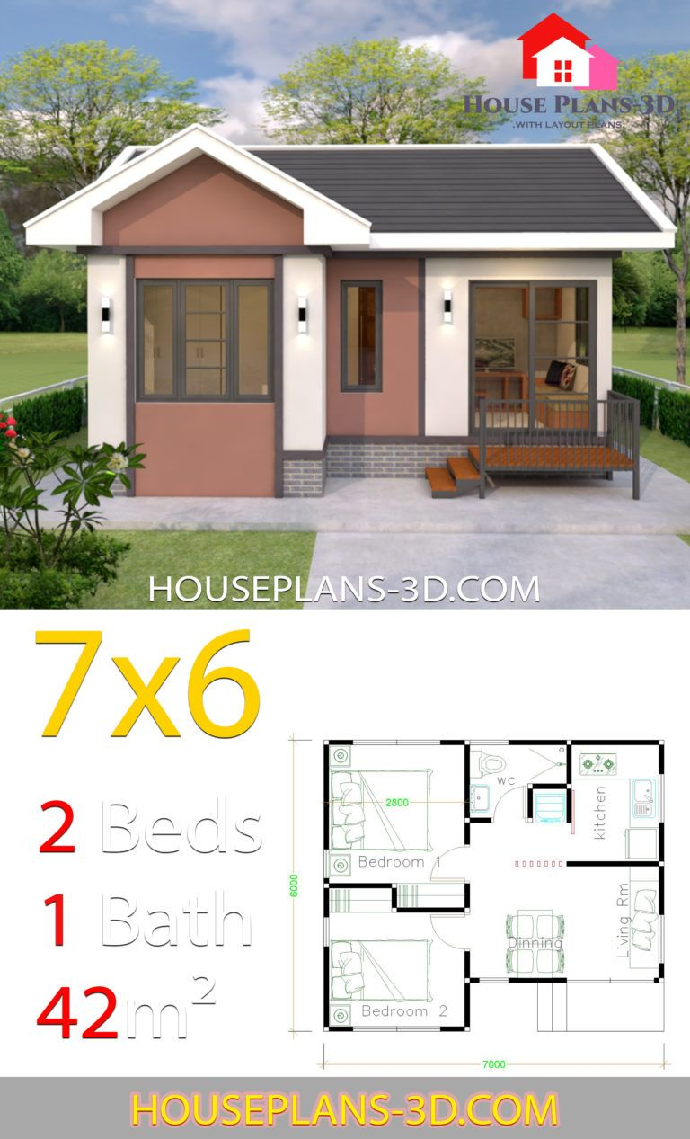 House Plans Design 7x6 with 2 Bedrooms Gable Roof in 2020 ...