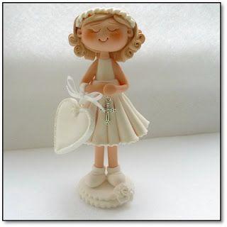 a74c71ab8 niña comunión porcelana fria fimo | MUñecas para comunion | Prima ...