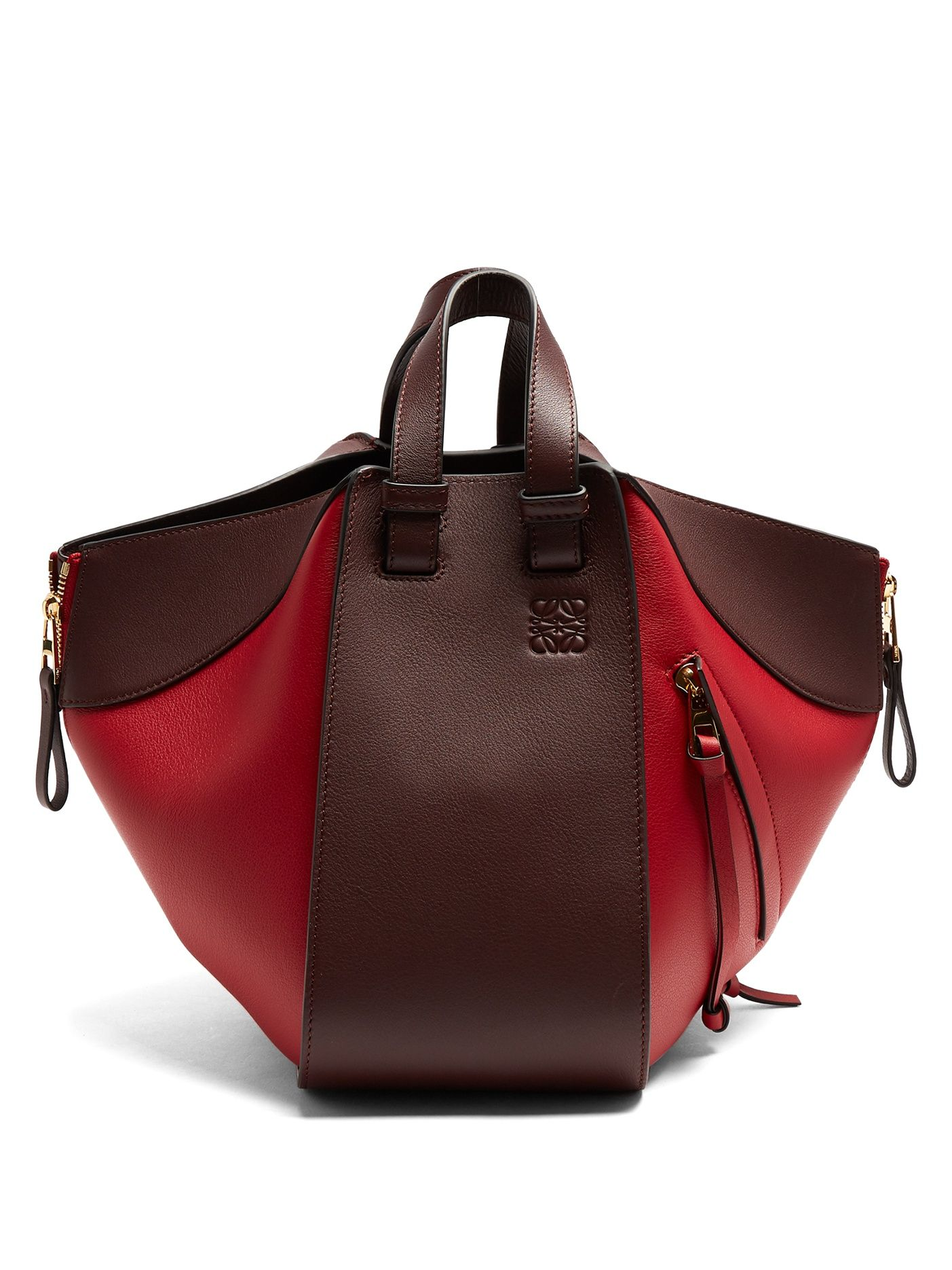Click here to buy loewe hammock small contrastpanel leather tote at