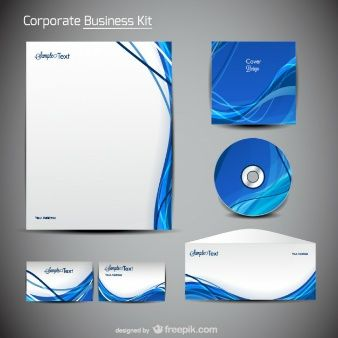 Download Wavy Blue Business Stationery For Free Vector Free