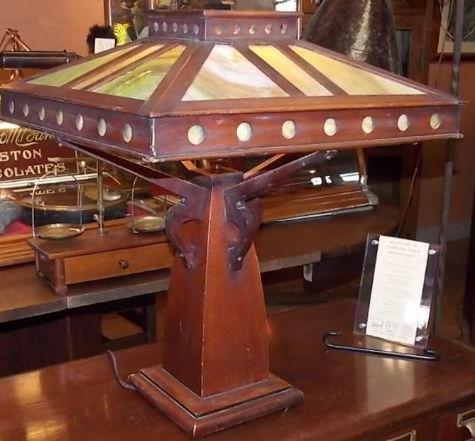 Prairie style mahogany slag glass lamp with circular ...