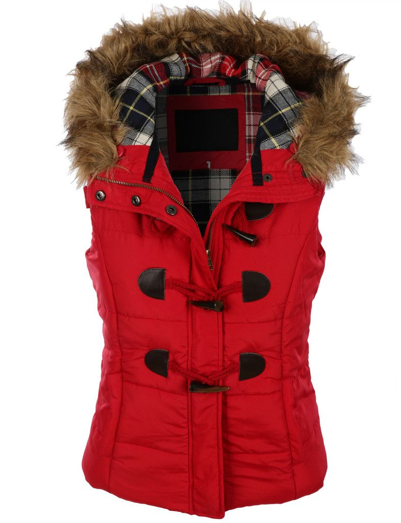 5d8fae902 LE3NO Womens Classic Toggle Padded Puffer Jacket Vest with Faux Fur ...