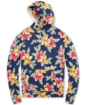 f8e6d8b8b63574 Polo Ralph Lauren Men's Floral-Print Spa Terry Hoodie - Vintage Hibiscus  Floral XXL