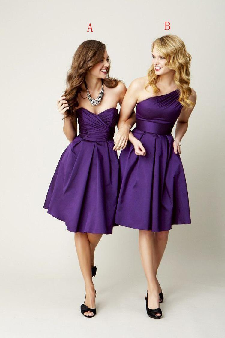 Pleated Short Satin Bridesmaid Dress Purple 2018 Knee Length Wedding ...