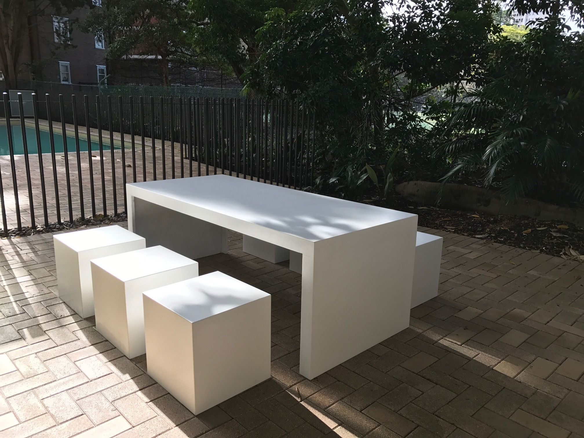 Outdoor Concrete Table With 6 Seating Cubes