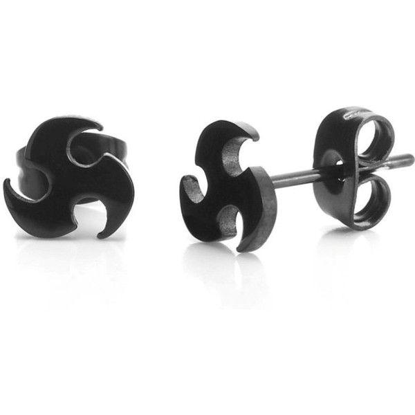 Men S Stainless Steel Black Stud Earrings Blade Style 12 Liked