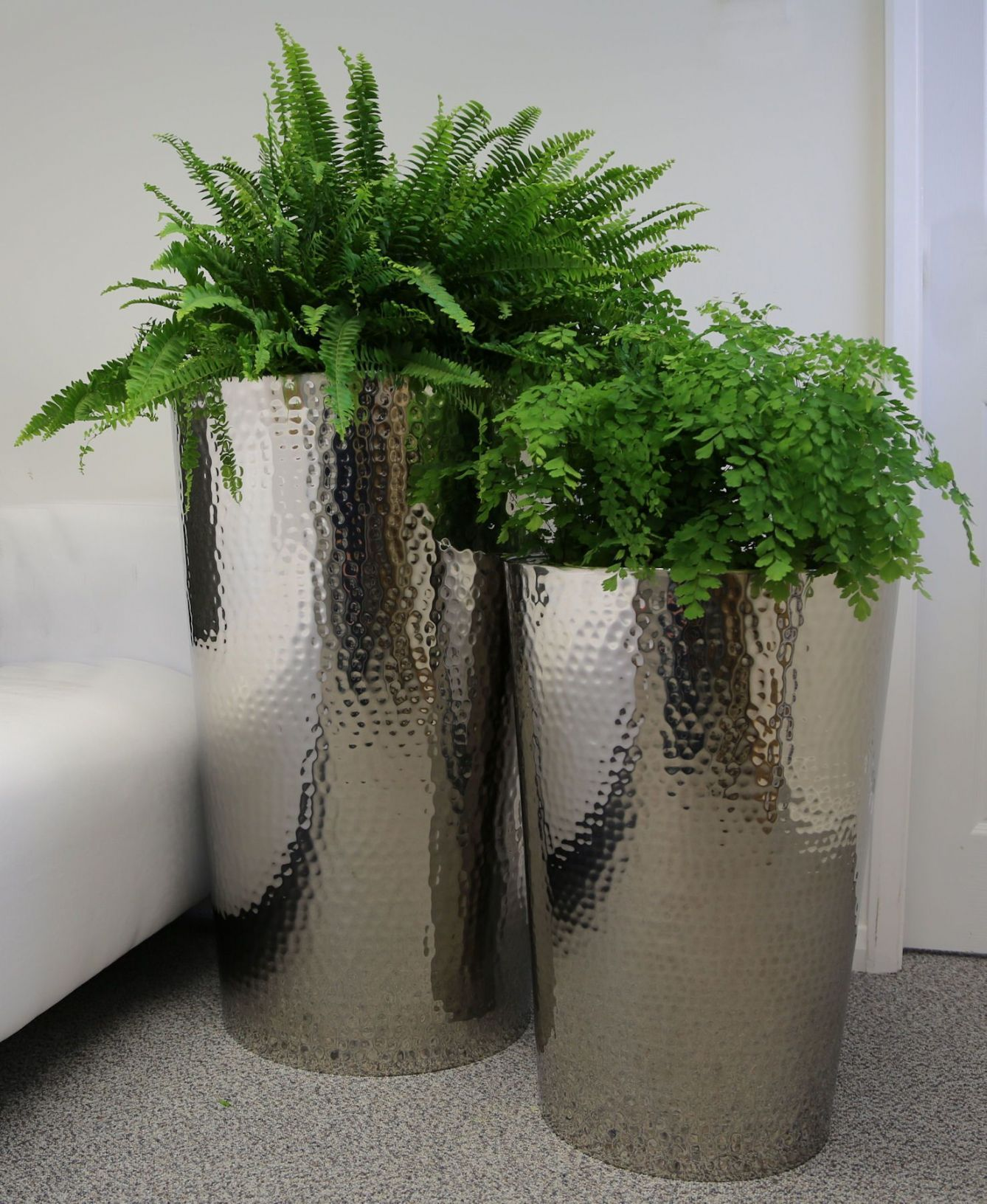 Hammered Stainless Steel Tapered Round Planters From