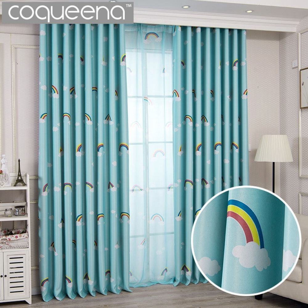 Lovely Rainbow Kids Curtains For Boys Girls Room Children Bedroom Door Window Curtain Panel Drapes Window Treatments Blue Pink Kids Room Curtains Kids Curtains Boy Girl Room