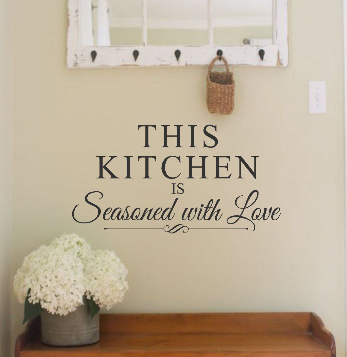 kitchen vinyl wall decal this kitchen is seasoned with love wall quote kitchen decor vinyl on kitchen decor quotes wall decals id=30047