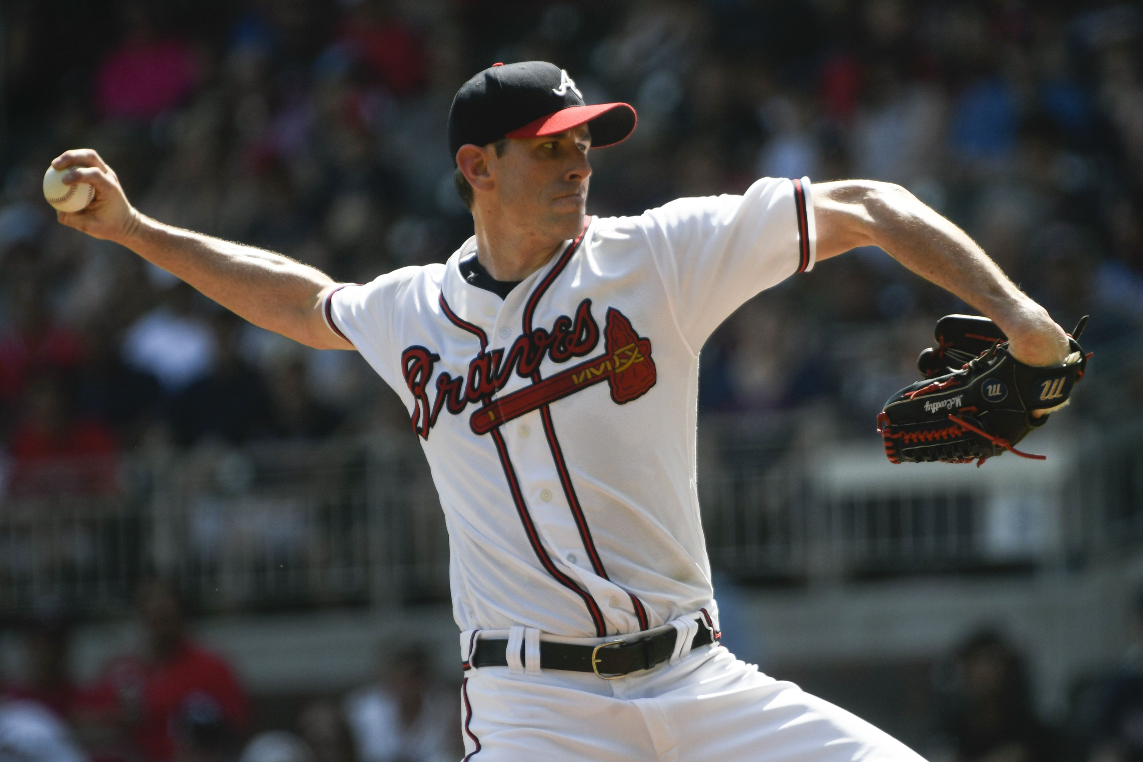 Atlanta Braves Pitcher Brandon Mccarthy Pitches During The First Inning Of A Baseball Game Against The Washington Atlanta Braves Atlanta Braves Pitchers Braves