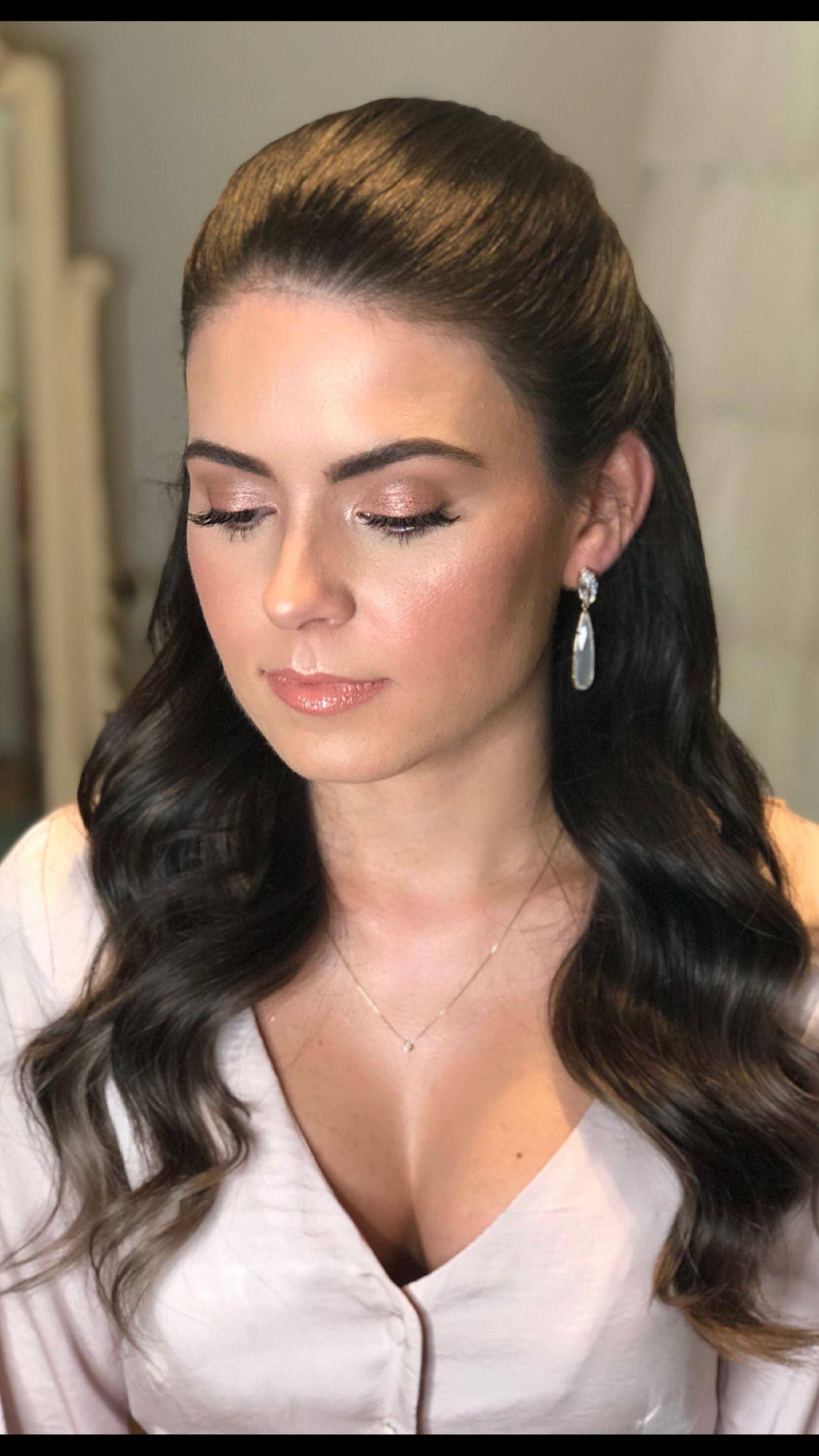 Glowy Rose Gold Makeup Look Elegant Wedding Hair Wedding Hair And Makeup Gold Makeup Looks