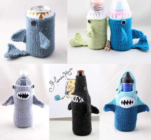 I may have to learn how to knit, just to make these!   SHARK WEEK ...