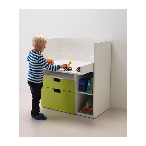 STUVA Changing table/desk White Play table, Drawers and Birch