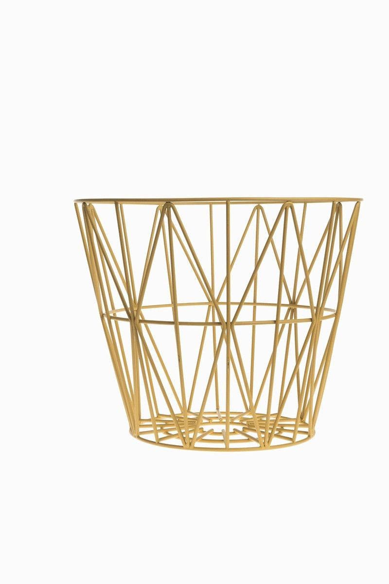 yellow wire basket by ferm living  ac  pinterest  wire basket  - yellow wire basket by ferm living decorative