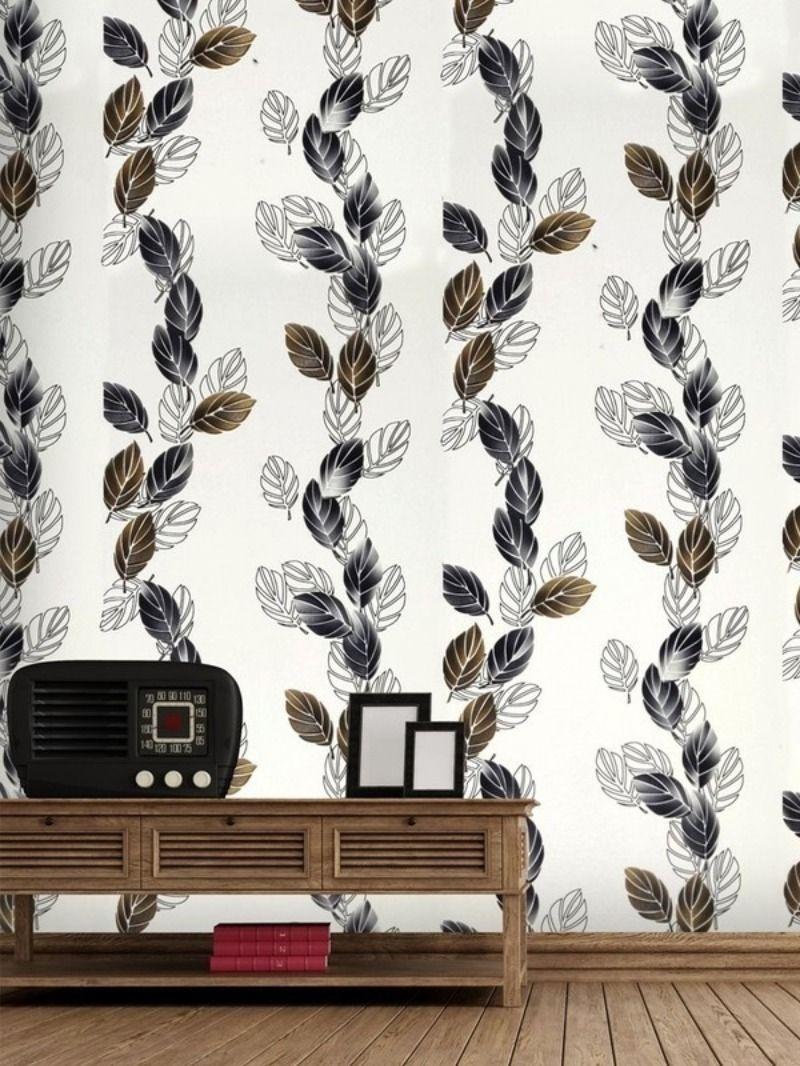 Heavy Vinyl Decorative Wallpaper With Leaf Pattern 57 Sq Ft Wallpaper Decor Floral Wallpaper Wallpaper