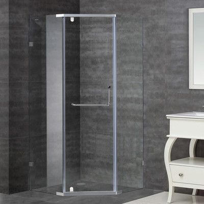 "35"" x 75"" Pivot SemiFrameless Shower Door (With images"