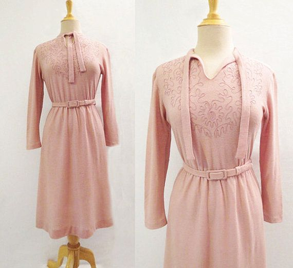 Dusty Pink Braided Dress  1970s by LouisaAmeliaJane on Etsy #vintagedress #pinkdress #1970s