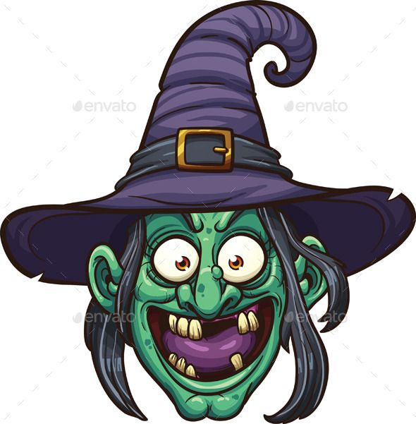 Halloween Cartoon Witch Face.Cartoon Witch Face Vector Clip Art Illustration With Simple