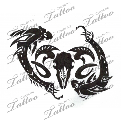 Marketplace Tattoo Pisces meets Aries 6321